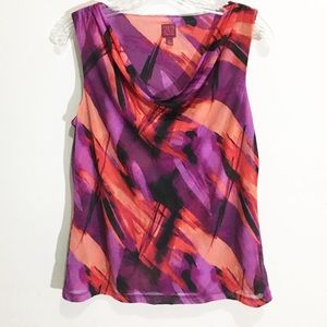 212 pink orange abstract watercolor sleeveless top
